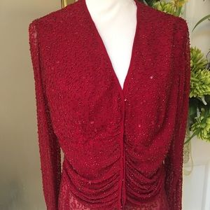 Red sequin blouse